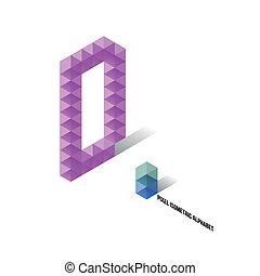 abeceda, isometric, -, d, pixel