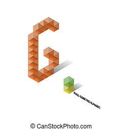 abeceda, isometric, -, pixel, g