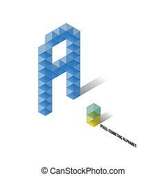 abeceda, isometric, -, pixel