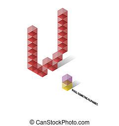 abeceda, isometric, -, pixel, watt