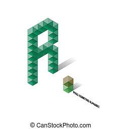 abeceda, isometric, r, -, pixel