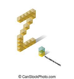 abeceda, isometric, z, -, pixel