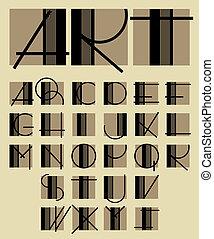 abeceda, jedinečný, design, originální, současník