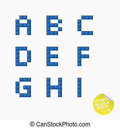 abeceda, jedinečný, pixel, balvan