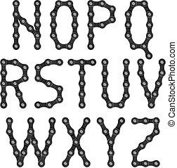 abeceda, jezdit na kole zřetězený