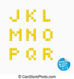 abeceda, pixel, balvan