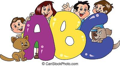 abeceda, popředí., rodina, vektor, blokáda, šťastný