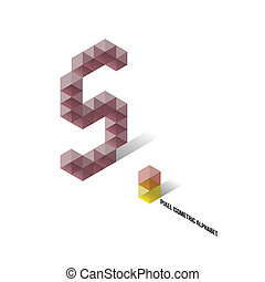 abeceda, vteřina, -, isometric, pixel