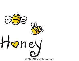 abeille, amour, miel