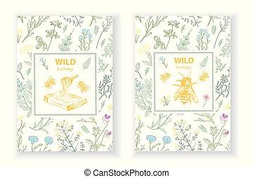 abeille, cadres, miel, herbes, flowers., ruche, sauvage