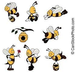 abeille, caractère, ensemble, collection