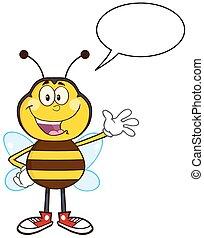 abeille, caractère, heureux, mascotte, dessin animé