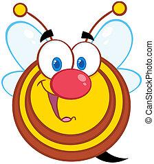 abeille, caractère, miel, mascotte, dessin animé