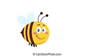 abeille, dessin animé, voler, mignon, sourire, caractère
