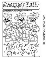 abeille, feuille, activité, thème, 1