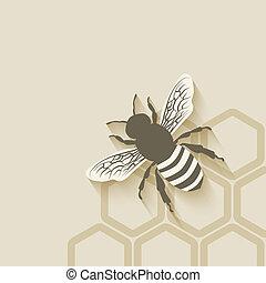 abeille, fond, rayon miel