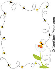 abeille, frontière, cadre