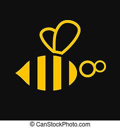 abeille, illustration, icône