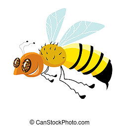 abeille, isolé, conception, dessin animé, blanc