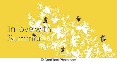 abeille, main, motif, dessiné, camomille, vecteur, croquis