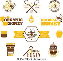 abeille, miel, étiquette, coloré