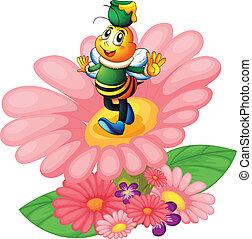 abeille miel, et, fleurs