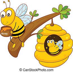 abeille miel, et, peigne