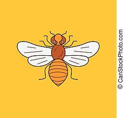 abeille miel, illustration, icône