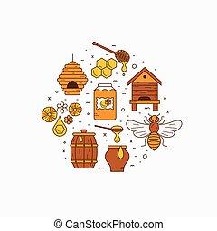 abeille miel, illustration., icône