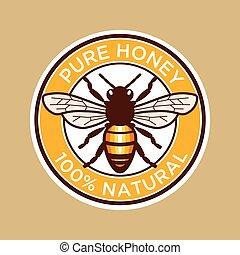 abeille miel, pur, étiquette