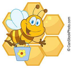abeille, onduler, et, porter, a, seau