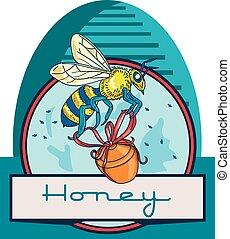 abeille, porter, miel, pot, skep, cercle, retro