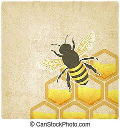 abeille, rayon miel, vieux, fond