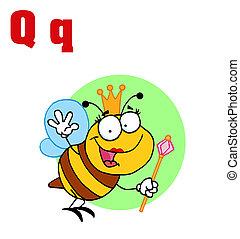 abeille, reine, q, lettres