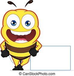 abeille, s'appuyer, a, signe blanc