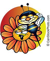 abeille, sur, fleur