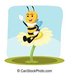 abeille, sur, fleur, vecteur, illustration