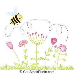abeille, sur, les, fleurs