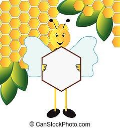 abeille, tenir signe, planche
