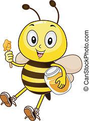 abeille, tenue, a, pot miel