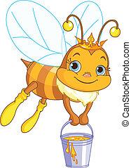 abeille, tenue, a, seau miel