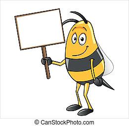 abeille, tenue, a, signe blanc