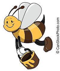 abeille, tenue, miel