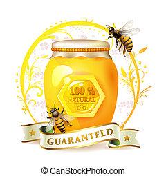 abeilles, à, pot verre, et, miel