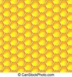 abeilles, cellules, 10, rayon miel, seamless, nids, leur, modèle, vecteur, clair, hexagonal, cire, illustration., arrière-plan., eps, prismatique, jaune, construit, miel