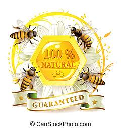 abeilles, et, rayons miel