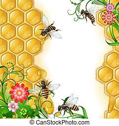 abeilles, fond, rayon miel