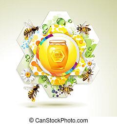 abeilles, pot, verre
