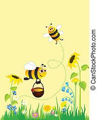 abeilles, pré
