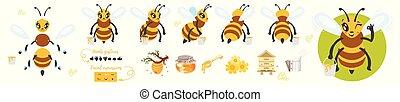 abeja, animación, carácter, lindo